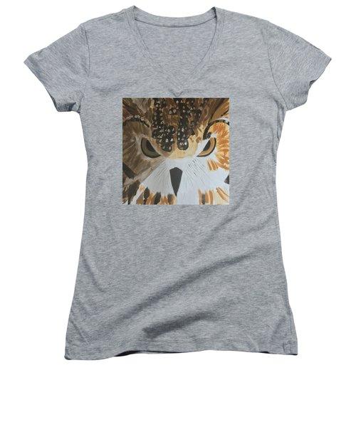Owl Women's V-Neck T-Shirt (Junior Cut) by Donald J Ryker III