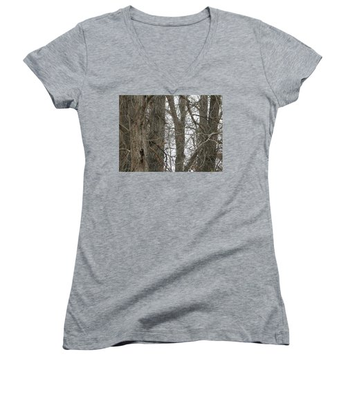 Owl In Camouflage Women's V-Neck (Athletic Fit)