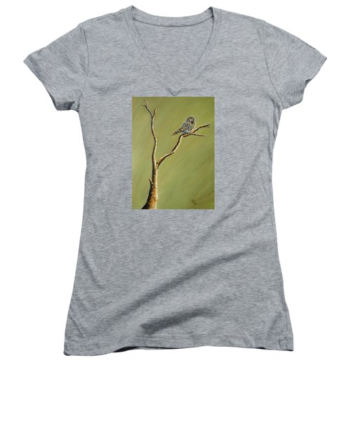 Owl On A Branch Women's V-Neck (Athletic Fit)