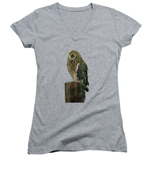 Owl Women's V-Neck (Athletic Fit)