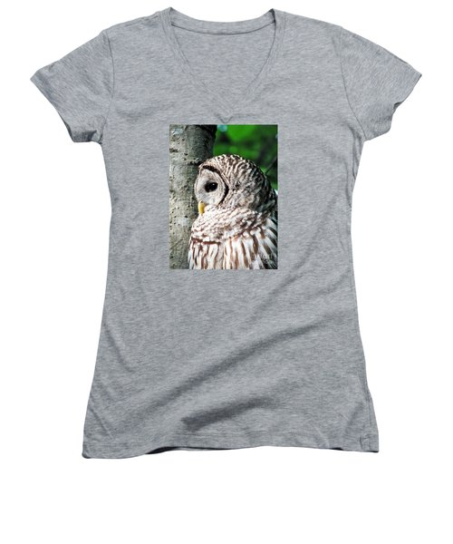 Owl Profile Women's V-Neck T-Shirt (Junior Cut) by Christy Ricafrente