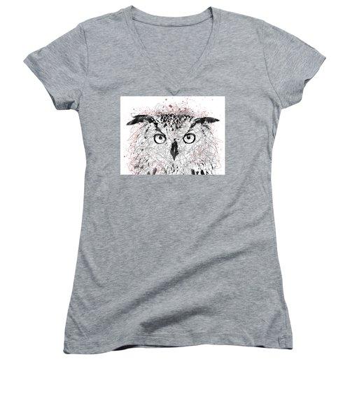 Owl Sketch Pen Portrait Women's V-Neck (Athletic Fit)