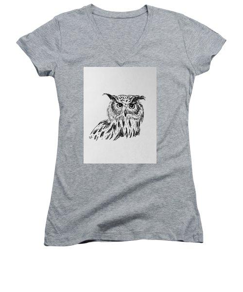 Owl Study 2 Women's V-Neck T-Shirt (Junior Cut) by Victoria Lakes