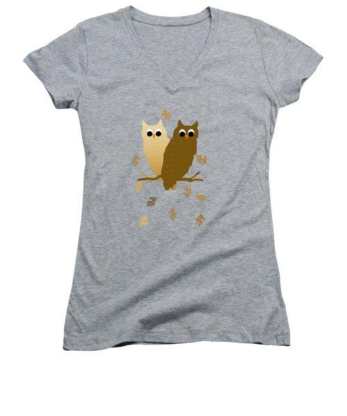 Owls Pattern Art Women's V-Neck