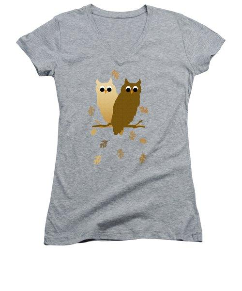 Owls Pattern Art Women's V-Neck T-Shirt