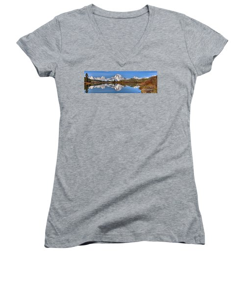 Oxbow Snake River Reflections Women's V-Neck T-Shirt (Junior Cut) by Adam Jewell