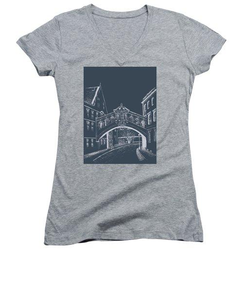 Women's V-Neck T-Shirt featuring the digital art Oxford At Night by Elizabeth Lock