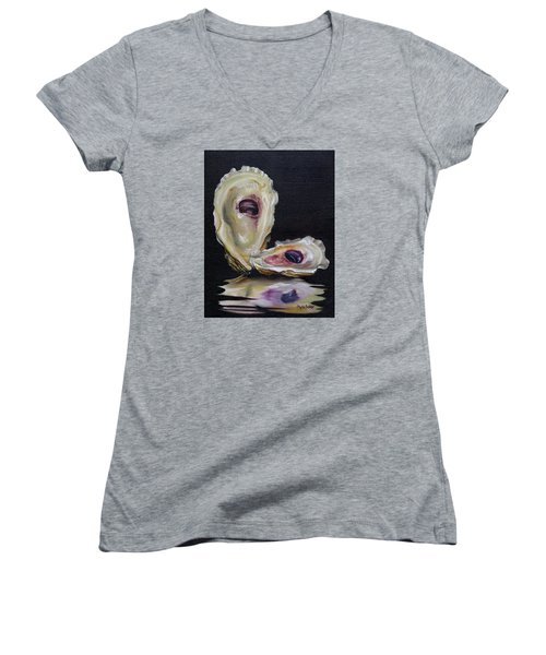 Women's V-Neck T-Shirt (Junior Cut) featuring the painting Oyster Shell Reflections by Phyllis Beiser