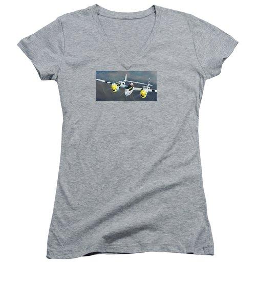 P-38 On The Prowl Women's V-Neck T-Shirt