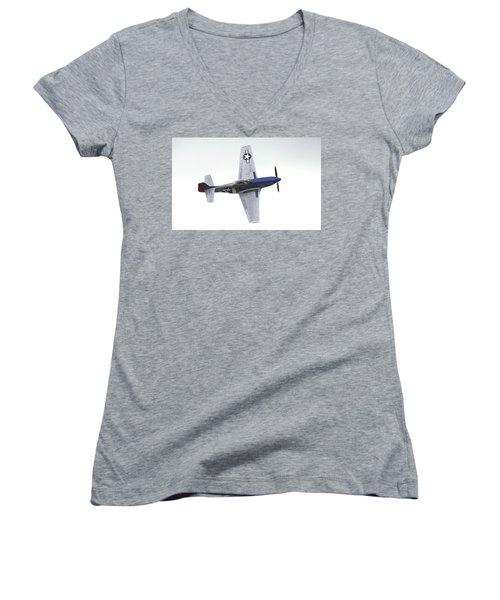 P-51 D Wing Over Women's V-Neck T-Shirt