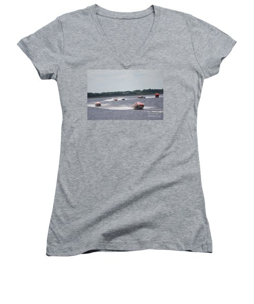 P1 Powerboats Orlando 2016 Women's V-Neck T-Shirt (Junior Cut) by David Grant