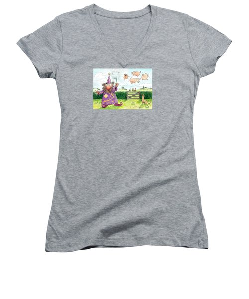 Pigs Might Fly    P8 Women's V-Neck T-Shirt (Junior Cut) by Charles Cater
