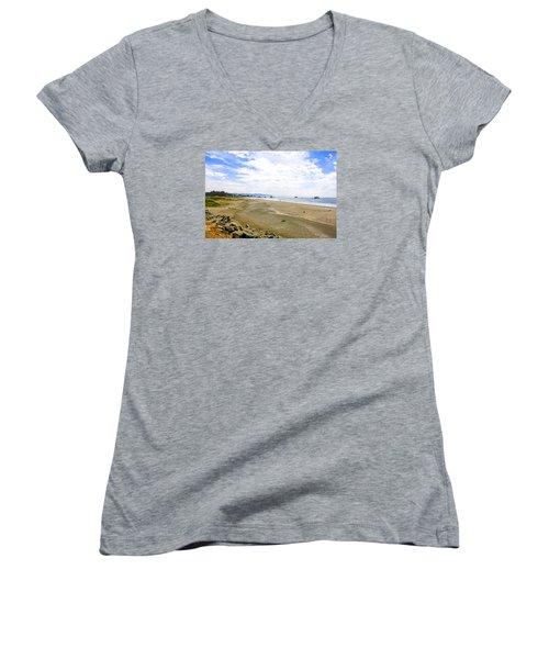 Pacific Coast California Women's V-Neck T-Shirt (Junior Cut) by Chris Smith