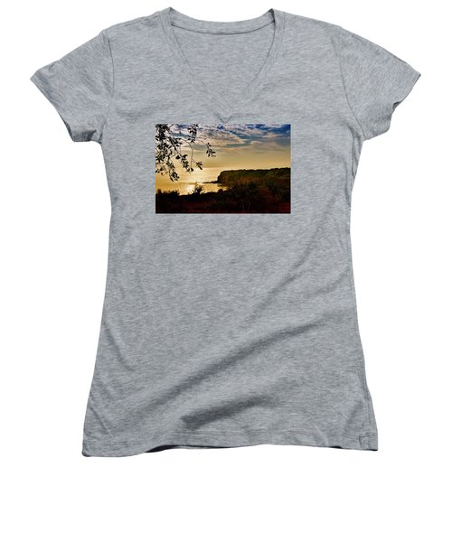 Women's V-Neck T-Shirt (Junior Cut) featuring the photograph Pacific Cove Paradise by Joseph Hollingsworth