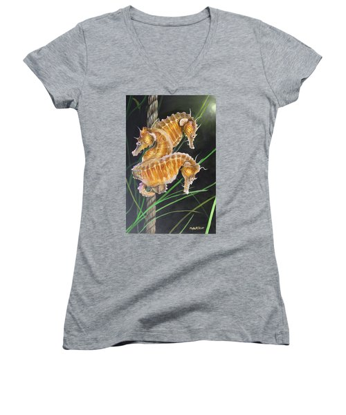 Pacific Lined Seahorse Trio Women's V-Neck T-Shirt (Junior Cut) by Phyllis Beiser