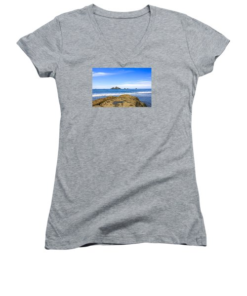 Pacific North West Coast Women's V-Neck T-Shirt (Junior Cut) by Chris Smith