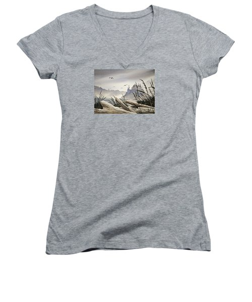 Pacific Northwest Driftwood Shore Women's V-Neck (Athletic Fit)