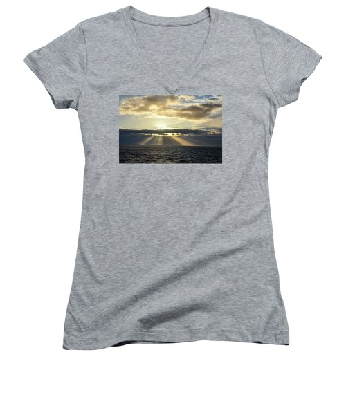 Pacific Sunset Women's V-Neck T-Shirt (Junior Cut) by Allen Carroll