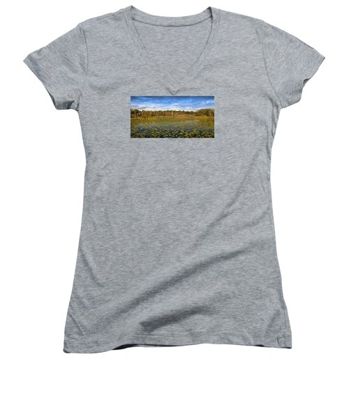 Women's V-Neck T-Shirt (Junior Cut) featuring the photograph Pad City by Steve Sperry