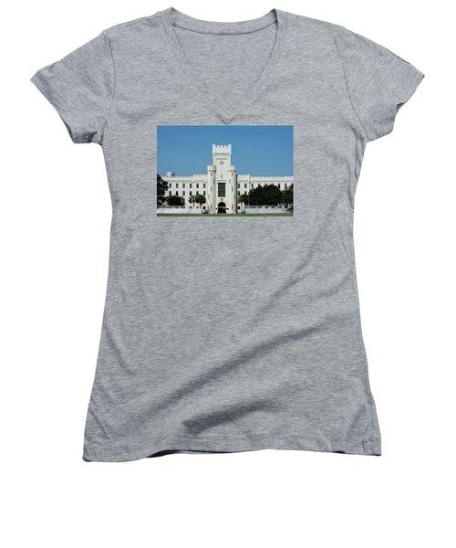 Padgett-thomas Barracks Women's V-Neck T-Shirt (Junior Cut) by Ed Waldrop