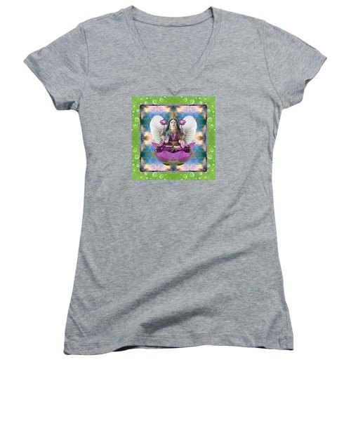 Women's V-Neck T-Shirt (Junior Cut) featuring the photograph Padma Lotus by Bell And Todd