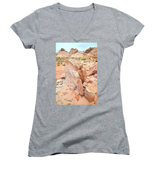 Women's V-Neck T-Shirt (Junior Cut) featuring the photograph Pages Of Stone In Valley Of Fire by Ray Mathis