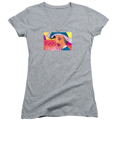Women's V-Neck T-Shirt (Junior Cut) featuring the painting Pagliacci Tuscany by Don Koester