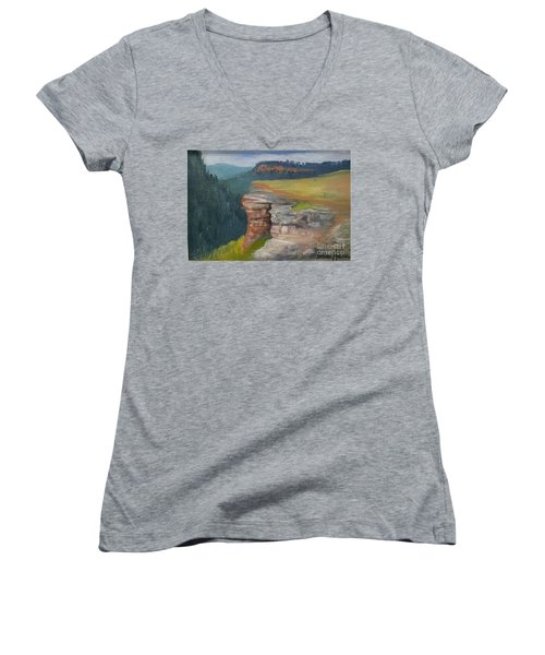 Pagosa Springs View Women's V-Neck T-Shirt (Junior Cut)
