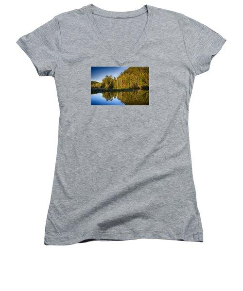Paint River Women's V-Neck T-Shirt (Junior Cut) by Dan Hefle