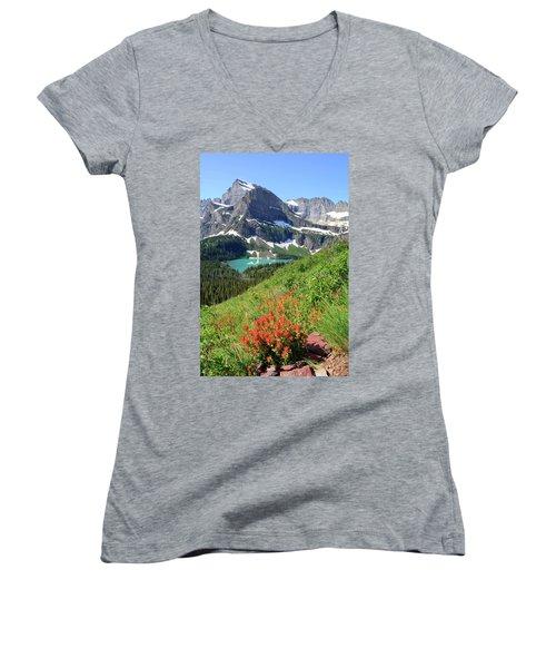 Paintbrush Above Grinnell Lake Women's V-Neck T-Shirt