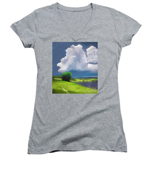 Painted Clouds Women's V-Neck (Athletic Fit)