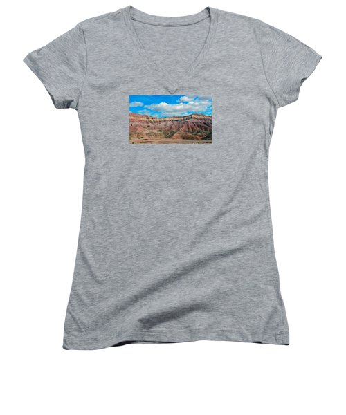 Painted Desert Women's V-Neck T-Shirt (Junior Cut) by Charlotte Schafer