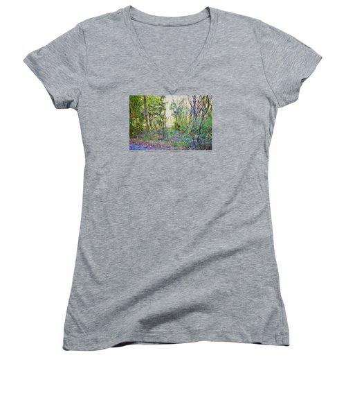 Painted Forrest Women's V-Neck T-Shirt (Junior Cut) by Rena Trepanier