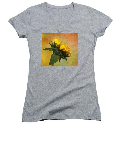 Painted Golden Beauty Women's V-Neck T-Shirt (Junior Cut) by Judy Vincent