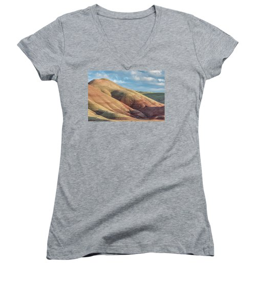 Painted Hill And Clouds Women's V-Neck T-Shirt (Junior Cut) by Greg Nyquist