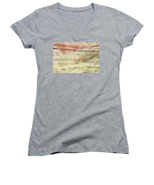 Painted Hills Ridge Women's V-Neck T-Shirt (Junior Cut) by Greg Nyquist