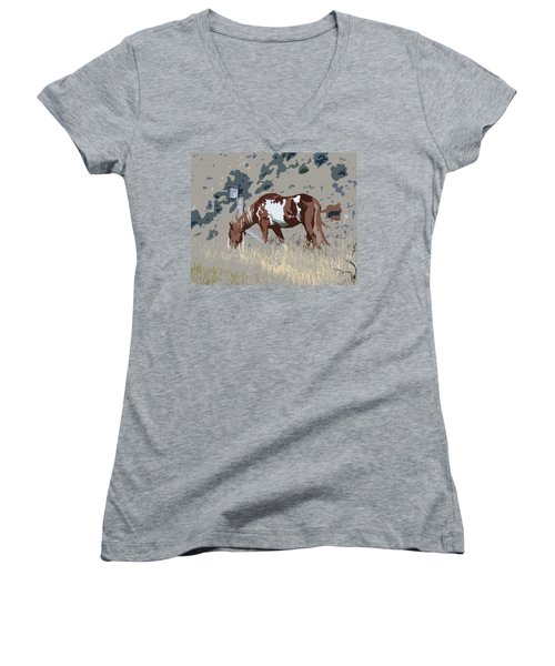 Women's V-Neck T-Shirt (Junior Cut) featuring the photograph Painted Horse by Steve McKinzie