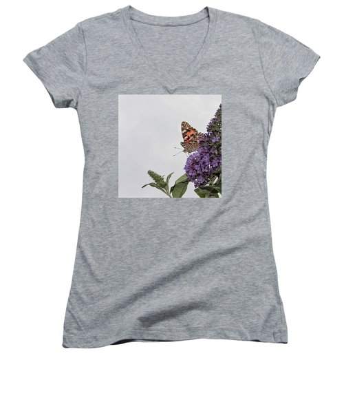 Painted Lady (vanessa Cardui) Women's V-Neck T-Shirt (Junior Cut)