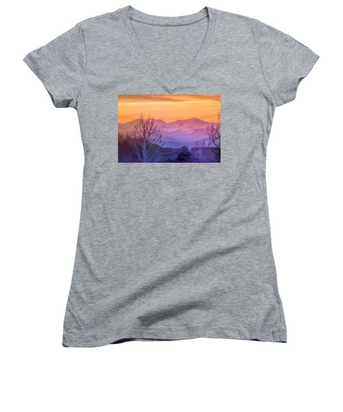 Painted Mountains Women's V-Neck T-Shirt