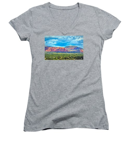 Painted New Mexico Women's V-Neck (Athletic Fit)