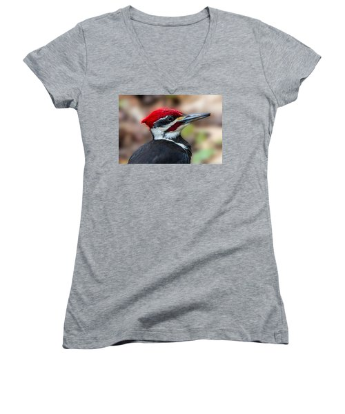 Women's V-Neck T-Shirt (Junior Cut) featuring the painting Painted Pileated Woodpecker by John Haldane
