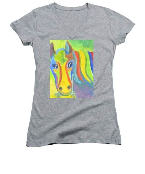 Painted Pony Women's V-Neck T-Shirt (Junior Cut) by Cathy Long