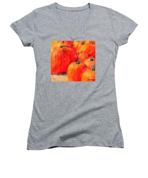 Painted Pumpkins Women's V-Neck (Athletic Fit)