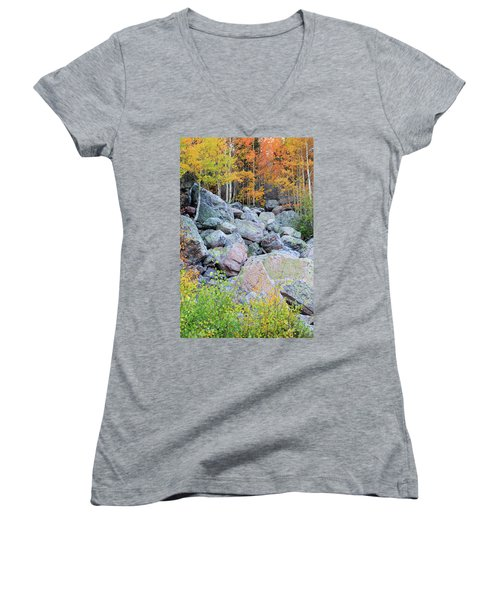 Women's V-Neck T-Shirt featuring the photograph Painted Rocks by David Chandler