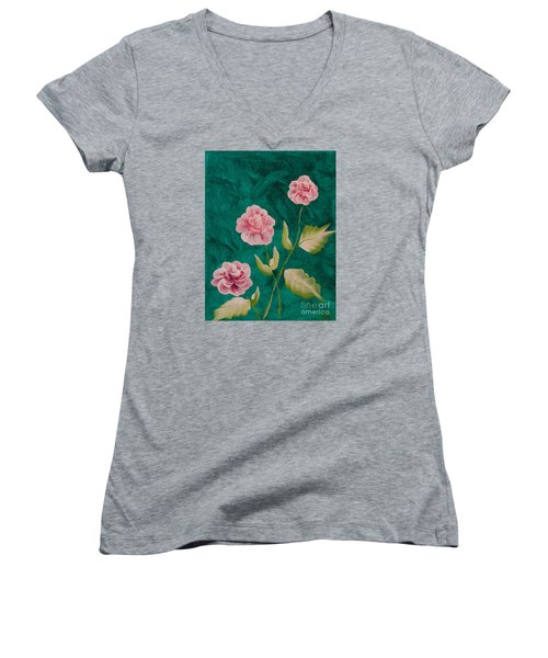 Painted Roses Women's V-Neck T-Shirt (Junior Cut) by Donna Brown