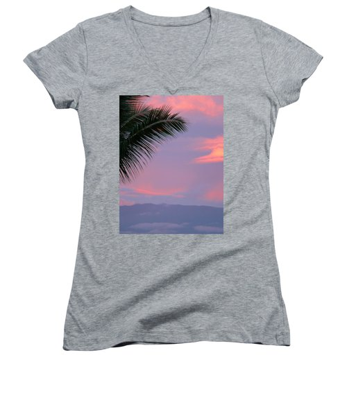 Women's V-Neck T-Shirt (Junior Cut) featuring the photograph Painted Sky by Debbie Karnes