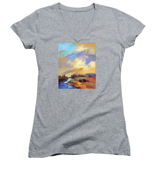 Women's V-Neck T-Shirt (Junior Cut) featuring the painting Painted Sky by Rae Andrews