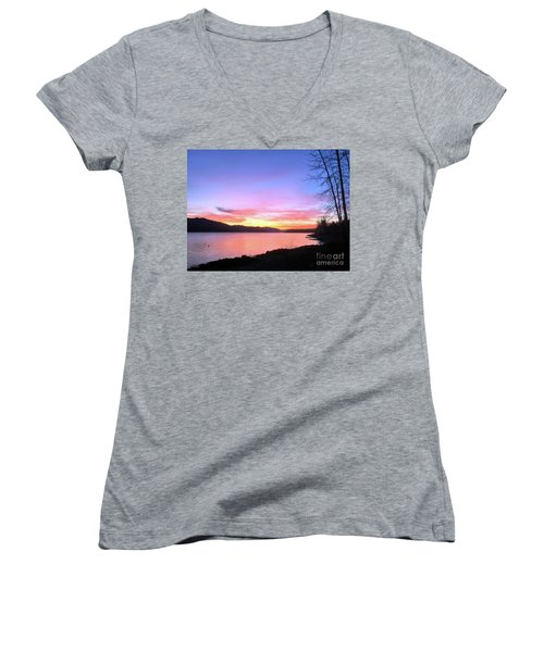 Painted Sky Women's V-Neck T-Shirt (Junior Cut) by Victor K