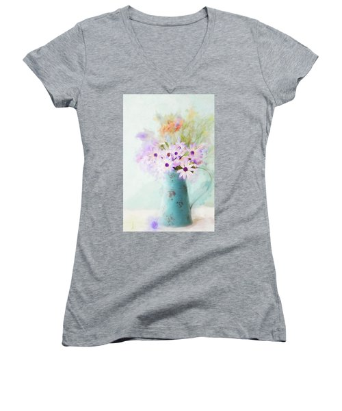 Painterly Spring Daisy Bouquet Women's V-Neck (Athletic Fit)