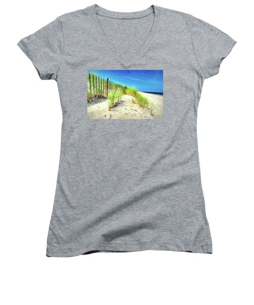 Women's V-Neck T-Shirt featuring the photograph Painterly  Waterfront Dune Grass by Gary Slawsky